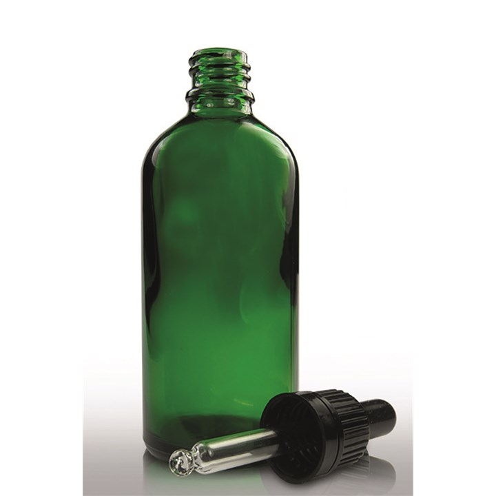 Green Glass Dropper Bottle With Pipette Cap 100ml