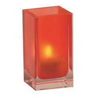 Tall Cube Holder Red Frosted Glass 13x7cm
