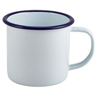 Enamelware Mug White With Blue Rim 36cl 12.5oz