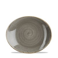 Grey Stonecast Oval Coupe Plate 19.2cm (7.5'')