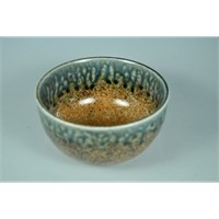Rustic Bowl Brown With Blue 13x7cm