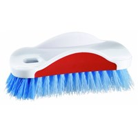 White Top Scrubbing Brush With Stiff Blue Bristles