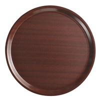 Tray Round Mahogany Brown Nonslip 43cm