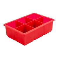 Cube Ice Mould Silicone 6 Cavity Red