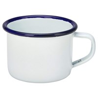 Enamel Mug White With Blue Rim 12cl 4.2oz