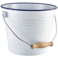 Enamel Bucket White Blue Rim 16cm