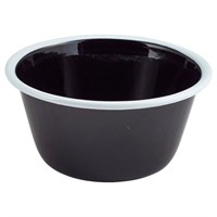 Pie Dish Rnd Deep Enamel Black White Rim 12cm