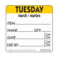 Label TUES 5cm sq UltraRemovable Food