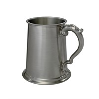 Double Lined Antique Handled Pewter Tankard 1Pt