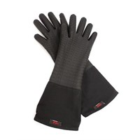 Oven Gloves 5 Finger Silicone Grip Black 45cm
