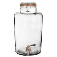 Nantucket Glass Punch Barrel 8.5L Copper Tap
