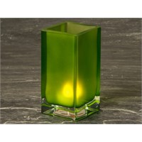 Candle Holder Tall Cube Frosted Green