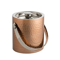 Ice Bucket Hammered Copper Finish Lid 15cm