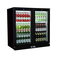 Bottle Cooler Hinged 2 Door Black