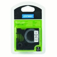 Dymo Black on White Perm Tape 1.2cmx5.5m