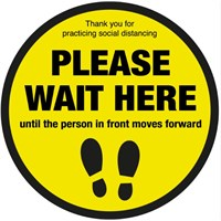 Please wait here until person in front moves forward Floor