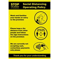 Shops & Retail Social Distancing Operating sign - A4