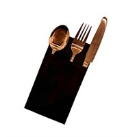 Black Fabric Style Cocktail Napkin 23cm