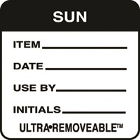 Removable Food Rotation Label Sunday