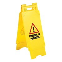 """Cleaning In Progress"" Safety Folding Sign"