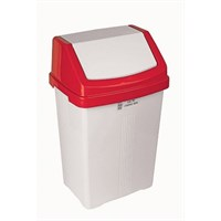White Swing Bin With Red Top 50L