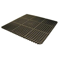 Floor Mat Rubber 90 x 90 x 1.2cm Black Interlock