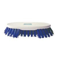White Scrubbing Brush With Stiff Blue Bristles
